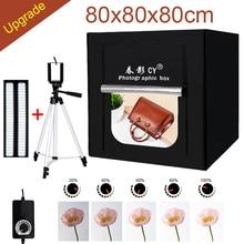 CY 80*80 Photo Studio LED tienda de la luz foto de la caja suave Shooting set + 3 Telones de fondo + regulador de intensidad ropa para niños kits carpa shoting