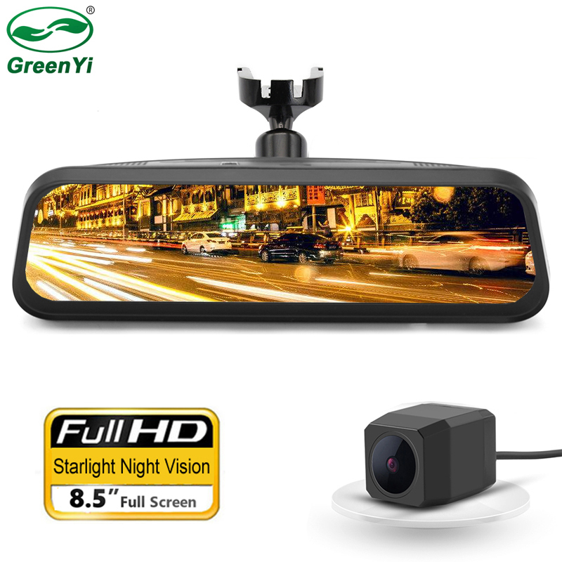 DVR Camera Rearview-Mirror-Recorder Car-Bracket Gesture-Operation Dual-Lens FHD 2