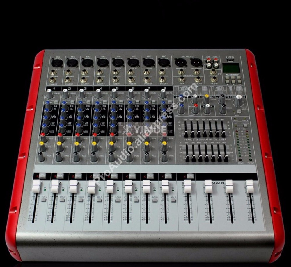 Pro 8 Channel Mixing Console High Power 3200W Bluetooth Power Amplifier with USB / PC / Record Live Studio Audio Mixers Mixer professional 4 channel live mixing studio audio sound console network anchor portable mixing device vocal effect processor