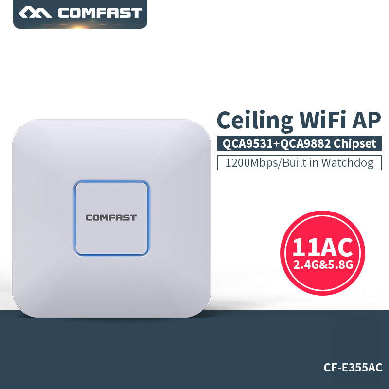 1200Mbps Gigabit WI-FI Routers & Ceiling AP 802.11AC wifi extender 5Ghz+2.4Ghz WiFi Access Point COMFAST CF-E355AC 1200Mbps Gigabit WI-FI Routers & Ceiling AP 802.11AC wifi extender 5Ghz+2.4Ghz WiFi Access Point COMFAST CF-E355AC