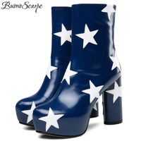 BuonoScarpe New Arrival Women Platform Stars Boots Fashion Real Leather Brand Design Shoes Patchwork High Heel Botas Mujer Shoes