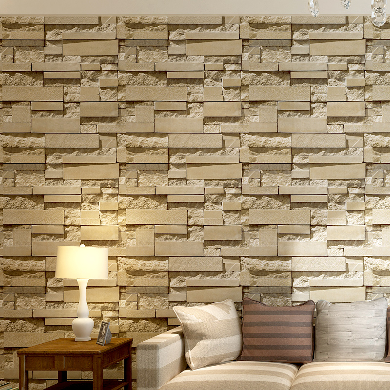 3d Slate Stone Brick Effect Wallpaper Roll Grey Yellow Wall Paper For Living Room Store Bar