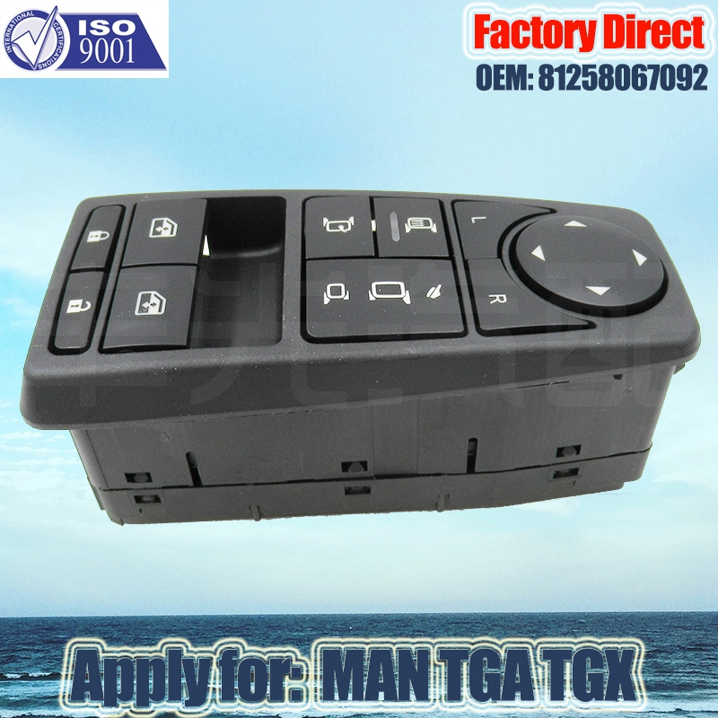 Factory Direct 81258067092 Auto Power Window Lifter Control Switch Apply For MAN Truck Parts Man TGS TGX TGL TGM LHD Driver Side