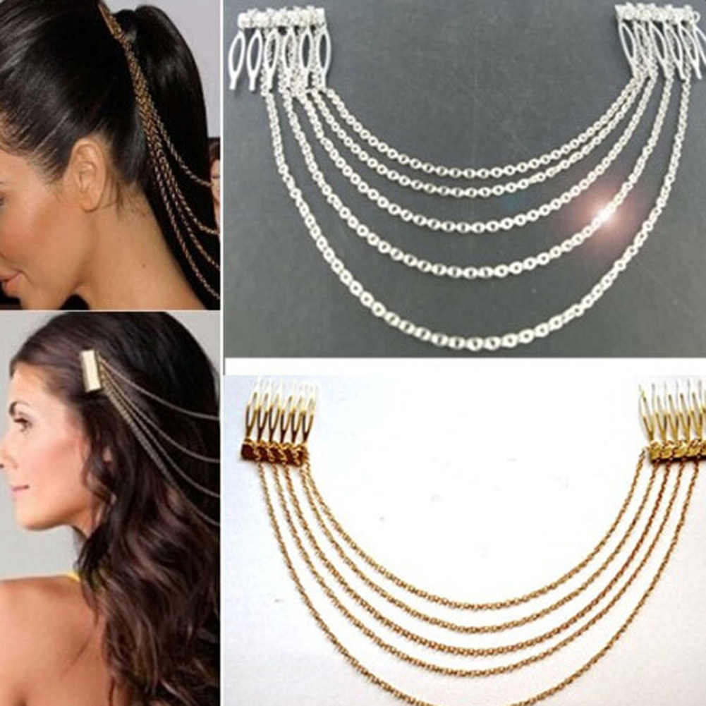 Women Hair Accessories PUNK Beautiful Long Tassel Chain Metal Gold Silver Color Hair Comb Fashion Hair Ornament Jewelry