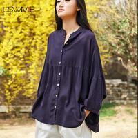 2019 Autumn Women Blouses Linen National Style Nine Quarter Lantern Sleeve Solid Color Shirt Irregular Hem Loose Plus Size Women