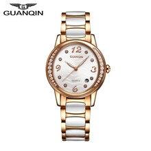 New Fashio Womens Watches Top Brand Luxury GUANQIN Watch Luminous Clock Female Ceramic Band Quartz Wristwatch reloj mujer