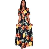 Pineapple Printed Bohemian Beach Dress Summer Ruffle Off Shoulder Sexy Maxi Long Dress 2017Mori Girl Women