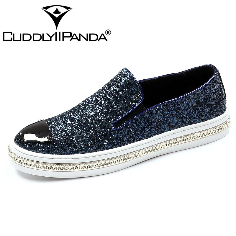 CUDDLYIIPANDA Luxury Men Casual Shoes Sleek Fashion Loafer Shoes Round Toe Glitters Bling Stylish Shoes Man Slip on Party Shoes
