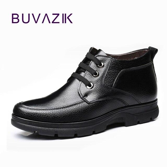 BUVAZIK 2018 người đàn ông mới da chính hãng khởi động người đàn ông mắt cá chân Mùa Đông ấm áp và nhung bông giày người đàn ông không thấm nước người đàn ông tuyết khởi động kích thước lớn