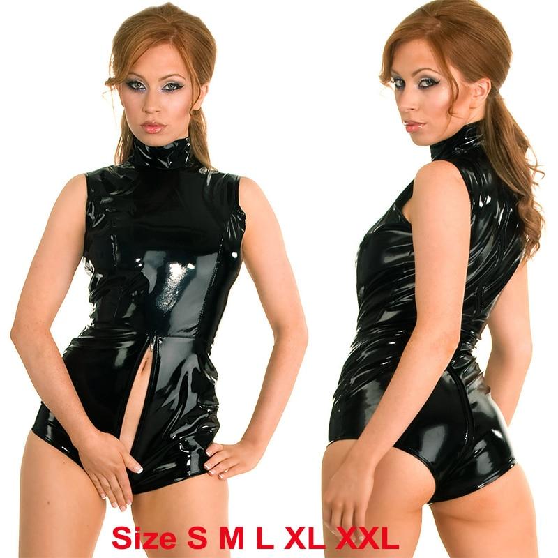 Big Size  XXL-S Black Latex Catsuit Faux Leather Romper One Zipper To Crotch Bodysuit Sexy PVC Dance Clubwear Leather Jumpsuit