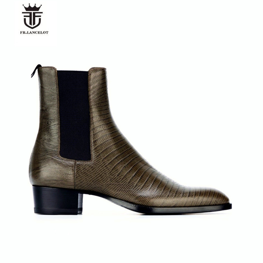 Europe Fashion Handmade High Top Lizard Pattern Genuine Leather Personalized Men Boots Wedge Luxury Slim Denim Chelsea Boots luxury handmade genuine leather zip slim wedge personalized high heel boots new chelsea boots