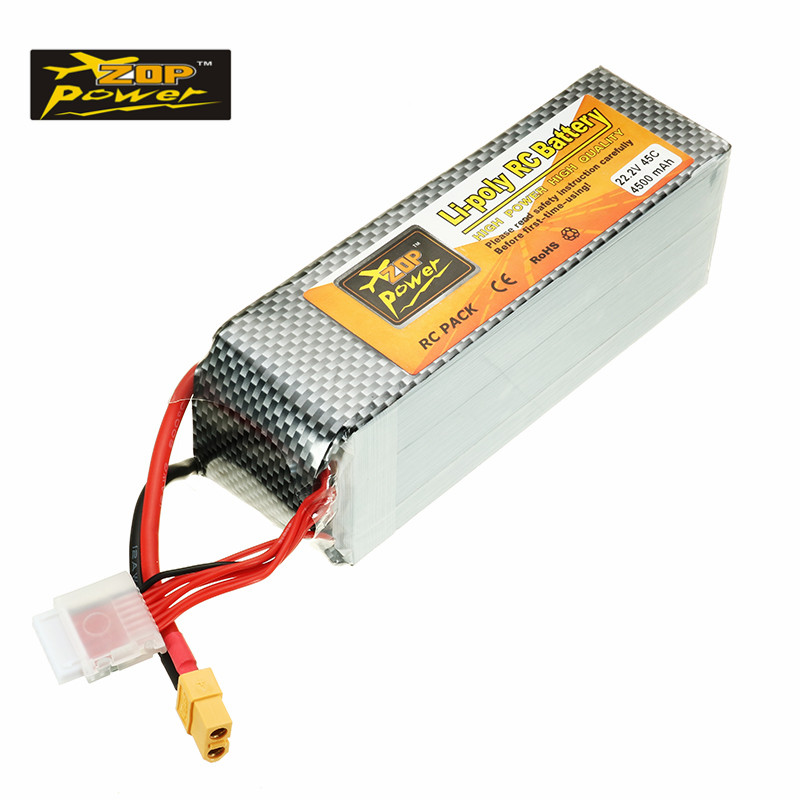 Rechargeable ZOP Power 22.2V 4500mah 45C 6S Lipo Battery XT60 Plug for ALZRC 505 RC Helicopter Quadcopter Toys Racing Parts helios 22 2v 1800mah 6s 55c xt60 plug rechargeable lipo battery for alzrc devil 380 420 480 align 470 helicopter spare parts