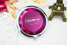 100pcs Lot Bridal Shower Favors Customized LOGO Crystal Compact Mirror Portable Beauty Mirror Party Accessories FREE