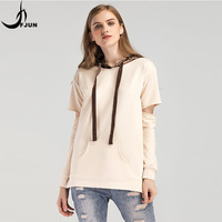 FJUN 2018 women casual loose pullovers autumn women o neck patchwork sweatshirts full sleeve hoodies with hat