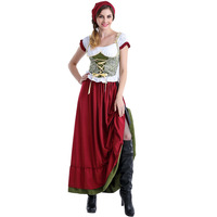 Free Shipping Oktoberfest Beer Festival October Dirndl Red Maid Peasant Skirt Dress Apron Blouse Gown German Wench Costume