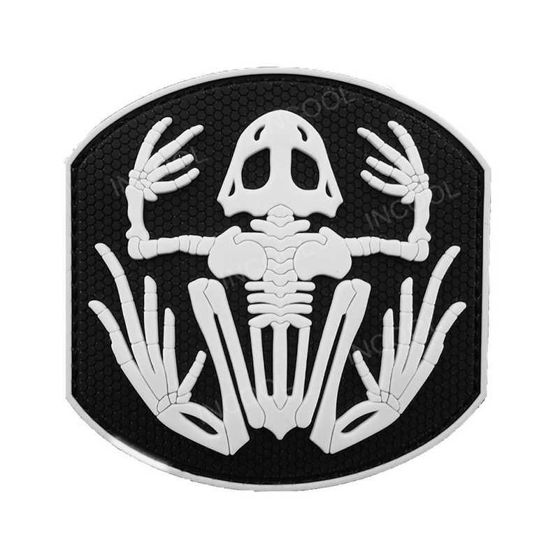 3D PVC luminoso parche blanco brillan en la oscuridad de parches de goma militar gancho moral parches táctico apliques emblema contra insignias