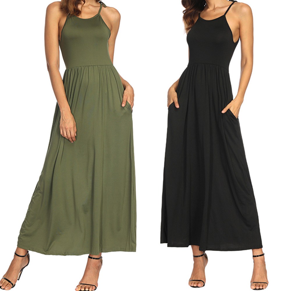 Womail Female Summer Dresses Womens Solid Pocket Tank Maxi Dress Sleeveless Casual Desses Mujer Vestido Drop Shipping 3.JULY.7