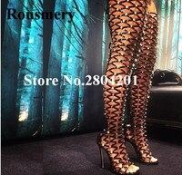 Rousmery модная обувь с открытым носком Для женщин украшенные заклепками с открытым носком высокий каблук шпилька выше колена пикантные T Stage Ле
