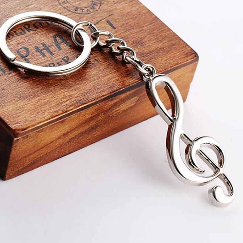 New key chain key ring silver plated musical note keychain for car metal music symbol key chains Top Quality men s toyota honda nissan keychain hollow silver plated genuine leather car keychain key ring metal key chain pendant
