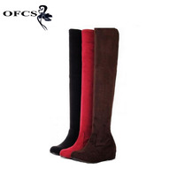 Women Boots 2014 Winter Spring Ladies Fashion Flat Bottom Boots Shoes Over The Knee High Leg