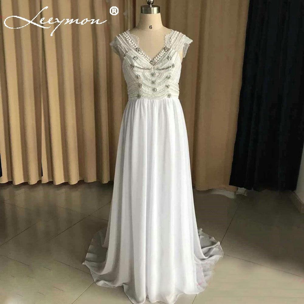 2018 비치 웨딩 드레스 섹시한 캡 슬리브 Boho 시폰 - 웨딩 드레스