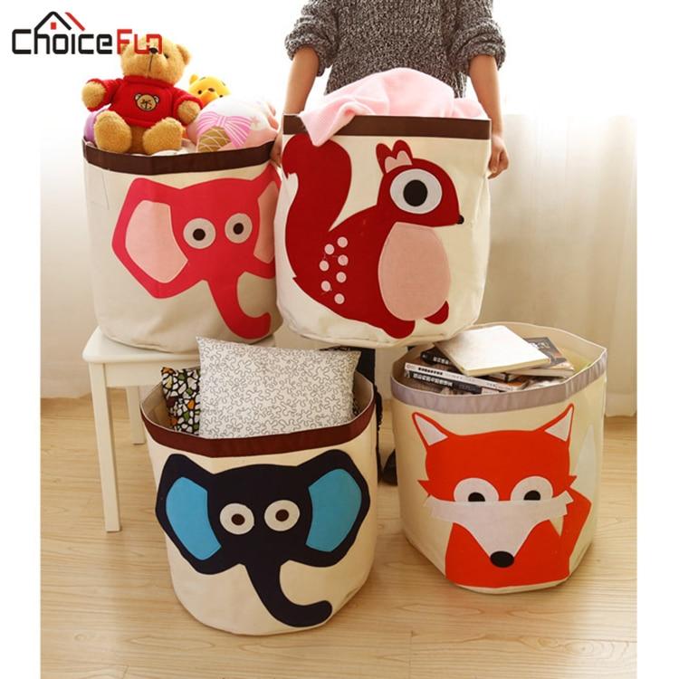CHOICEFUN Cute Round Elephant Cartoon Animal Folding Laundry Basket Dirty Clothes Organizer Storage Bag Hamper Laundry Basket