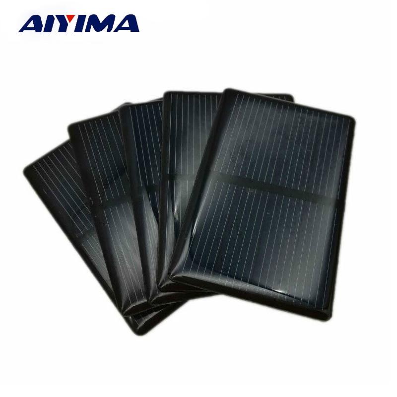 AIYIMA 5PCS Epoxy Solar Panel 2V 300mA Polycrystalline Sun Cell Sunpower Module DIY Solar Cell Battery Charger 2V 0.3A 80*50mm