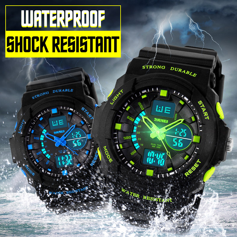 SKMEI Shock Resistant Watches Waterproof Men Women Kids Outdoor Sport Timing Watch Multifunction Children Fashion Wristwatches