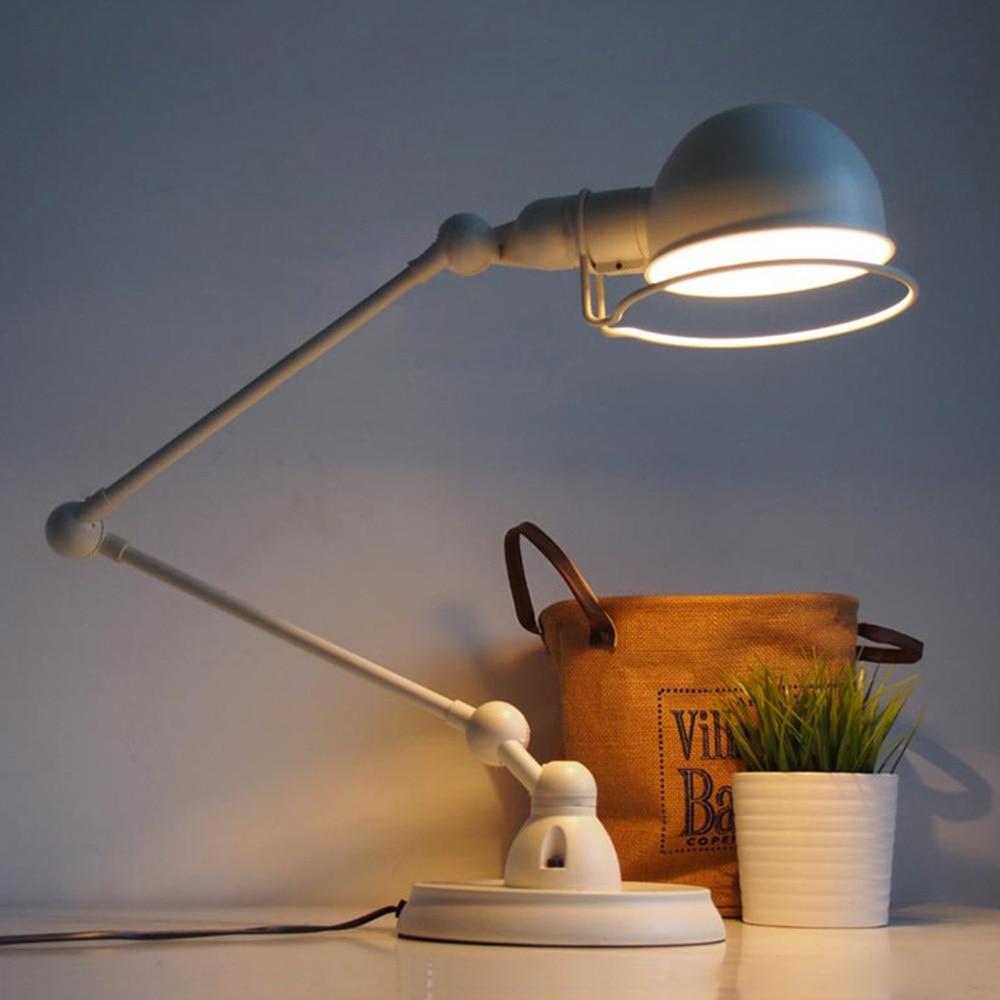 Nordic Vintage Black/White Desk Light E27 Office Study Bedside Garden Style Table  Lamp Adjustable Arms Home Lighting Decoration In Desk Lamps From Lights ...