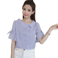 Irregular V Neck Flare Sleeve Women Blouses And Shirts 2017 Summer Button Front Casual Shirt Tops Blue Striped Cool Blusas XH174