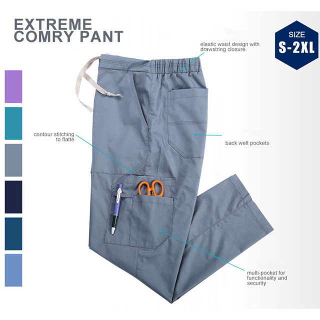 2883268649a Unisex Medical Scrub Pants Nursing Cargo Work Pant Tall Wide Legs Medical  Work Bottoms Lots of Pockets Healthcare Trousers