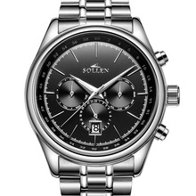 2016 SOLLEN relojes del negocio de manera de los hombres reloj mecánico automático de los hombres huecos de acero tabla de observación masculina impermeable Tourbillon