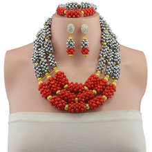 Nigerian Wedding African Beads Jewelry Set Crystal Sliver Red Three Row Steampunk Necklaces Earrings With Stones for Women