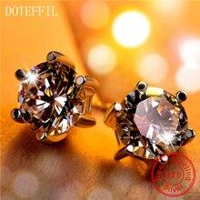 DOTEFFIL 100% Sterling Silver Earrings Charm Women Six Claw 925 Fashion Brand Jewelry
