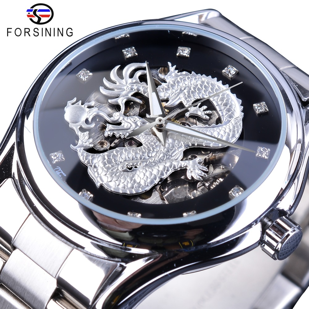 Forsining Classic Dragon Design Silver Stainless Steel Diamond Display Men Automatic Wrist Watches Top Brand Luxury Montre Homme