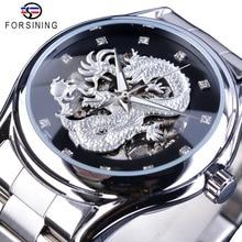 Forsining Classic Dragon Ontwerp Zilveren Roestvrij Staal Diamant Display Mannen Automatische Horloges Top Merk Luxe Montre Homme