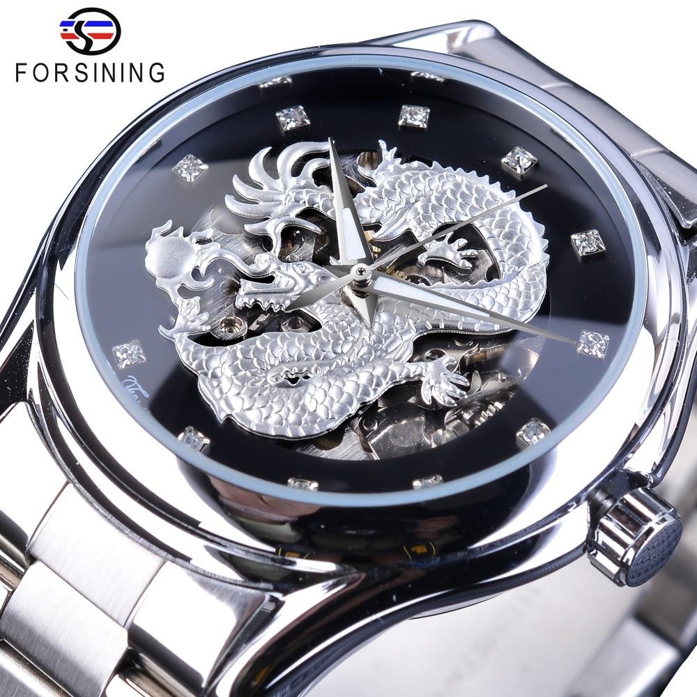 Design de Prata Relógios de Pulso Forsining Clássico Dragão Inoxidável Diamante Display Masculino Automático Marca Superior Luxo Montre Homme Aço