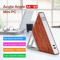 Острый угол AA-B4 DIY Мини ПК Intel Apollo Lake N3450 Windows10 8 GB ram 64 GB EMMC 128 GB SSD 2,4G 5,8G WiFi 1000 Mbps BT4.0 ТВ коробка