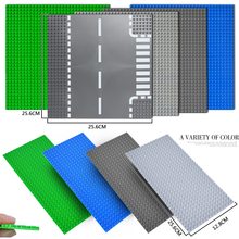 Classic Road Base Plates Straight Crossroad Curve Small Dots Baseplate Board City DIY Building Blocks Toys