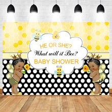 Mehofoto Baby Shower Backdrop for Photography Gender Reveal Theme Background Prince or Princess Newborn Bee Yellow and Black