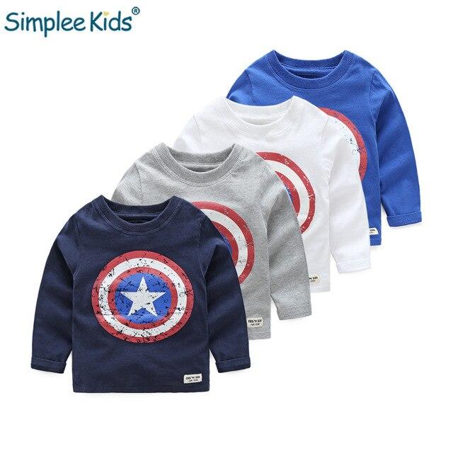 Simplee Kids 2018 Autumn Winter Baby Boys Long Sleeved T-shirt Captain America Streetwear 100% Cotton Boys T Shirt 2-6year Warm