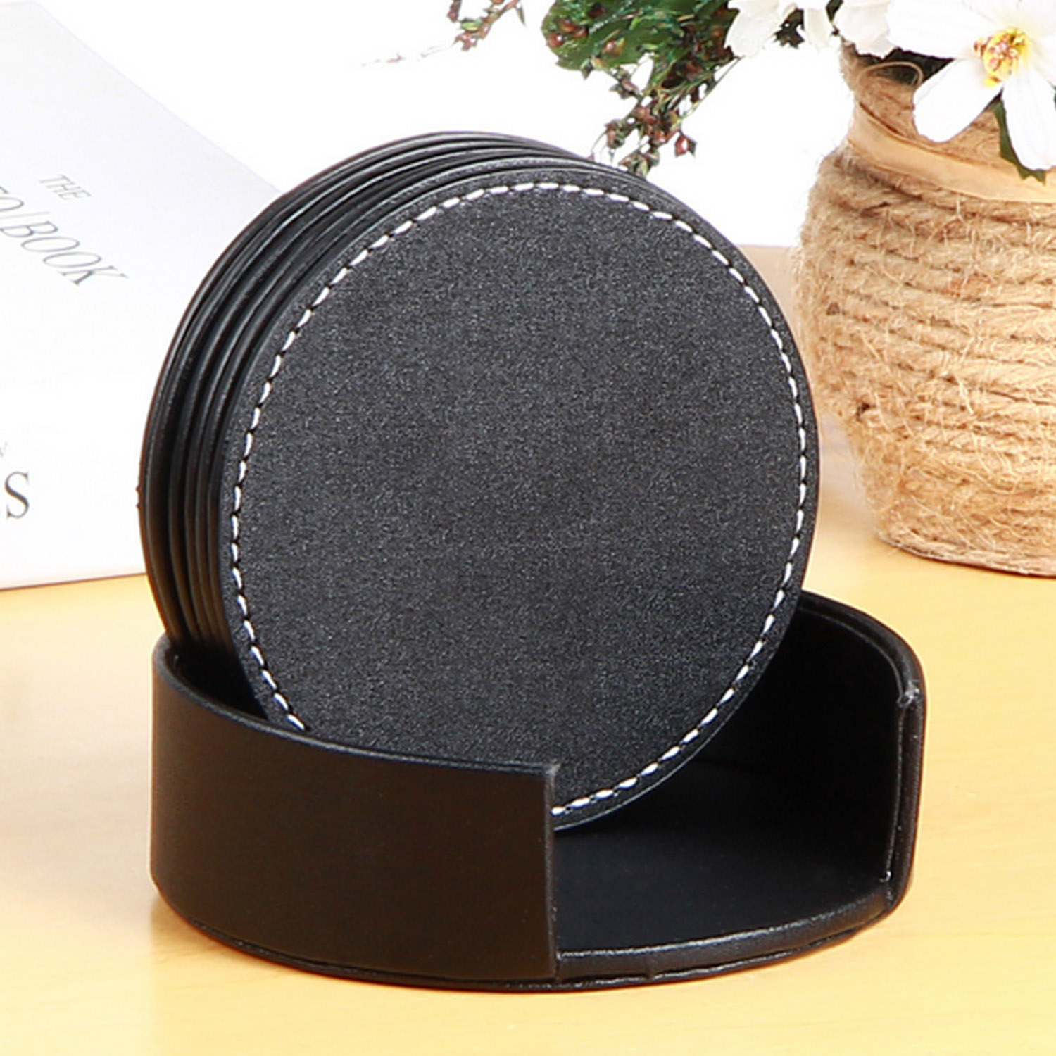 6 PCS Circular PU Leather Coasters Table Mat Pad for Coffee Tea Home Cafe Restaurant Hotel Decor Drink Cup Placemat Tableware