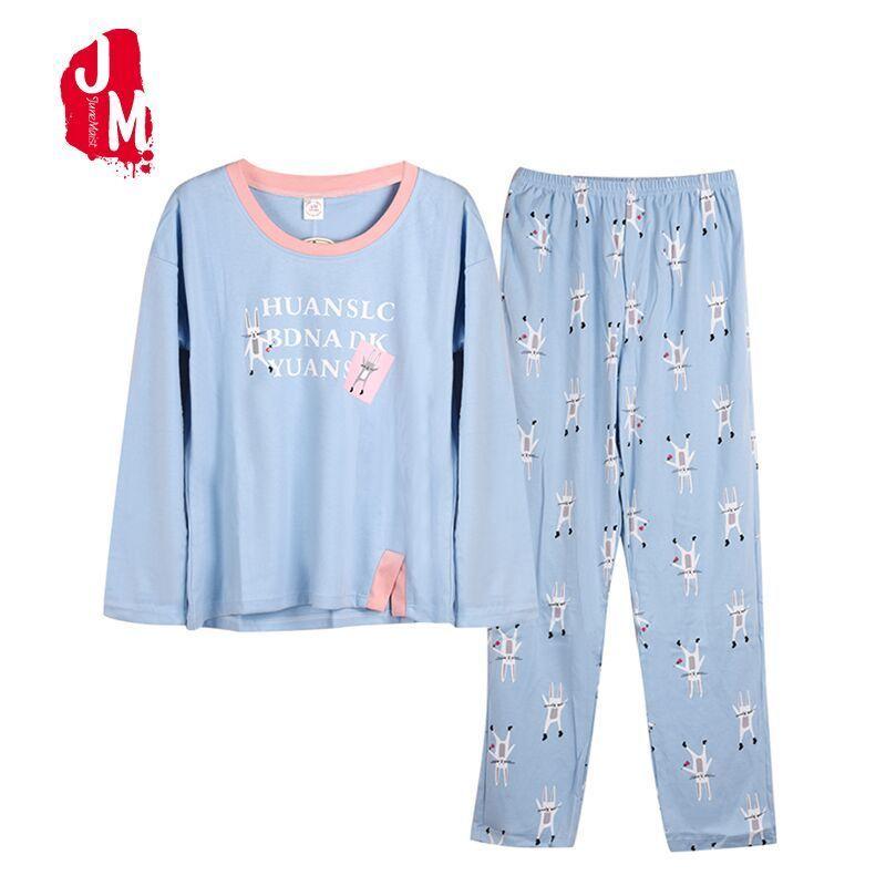 Autumn Winter Long Sleeve Women Pajamas Sets 100% Cotton Cartoon Letter  Female Plus Size S-XXXL Sleepwear Pijamas Suit