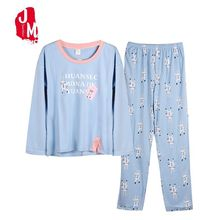 Autumn Winter Long Sleeve Women Pajamas Sets 100% Cotton Cartoon Letter  Female Plus Size S-XXXL Sleepwear Pijamas Suit
