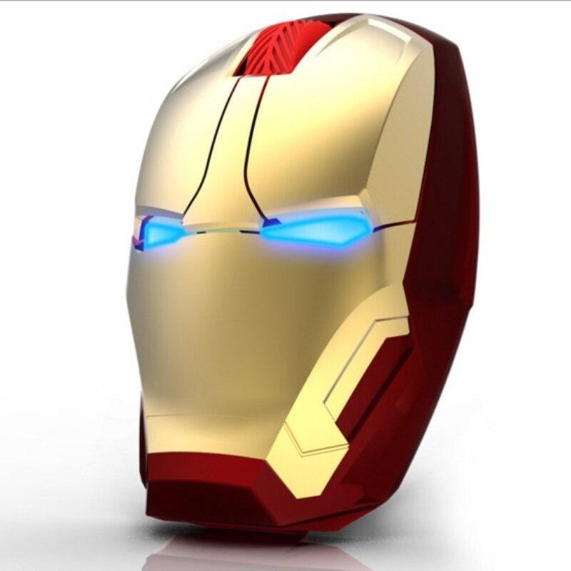 Nuevo ratón Iron Man ratón inalámbrico Gaming Mouse gamer Mute botón Silent Click 2400 1600 dpi 1200 800 ratón de ordenador ajustable