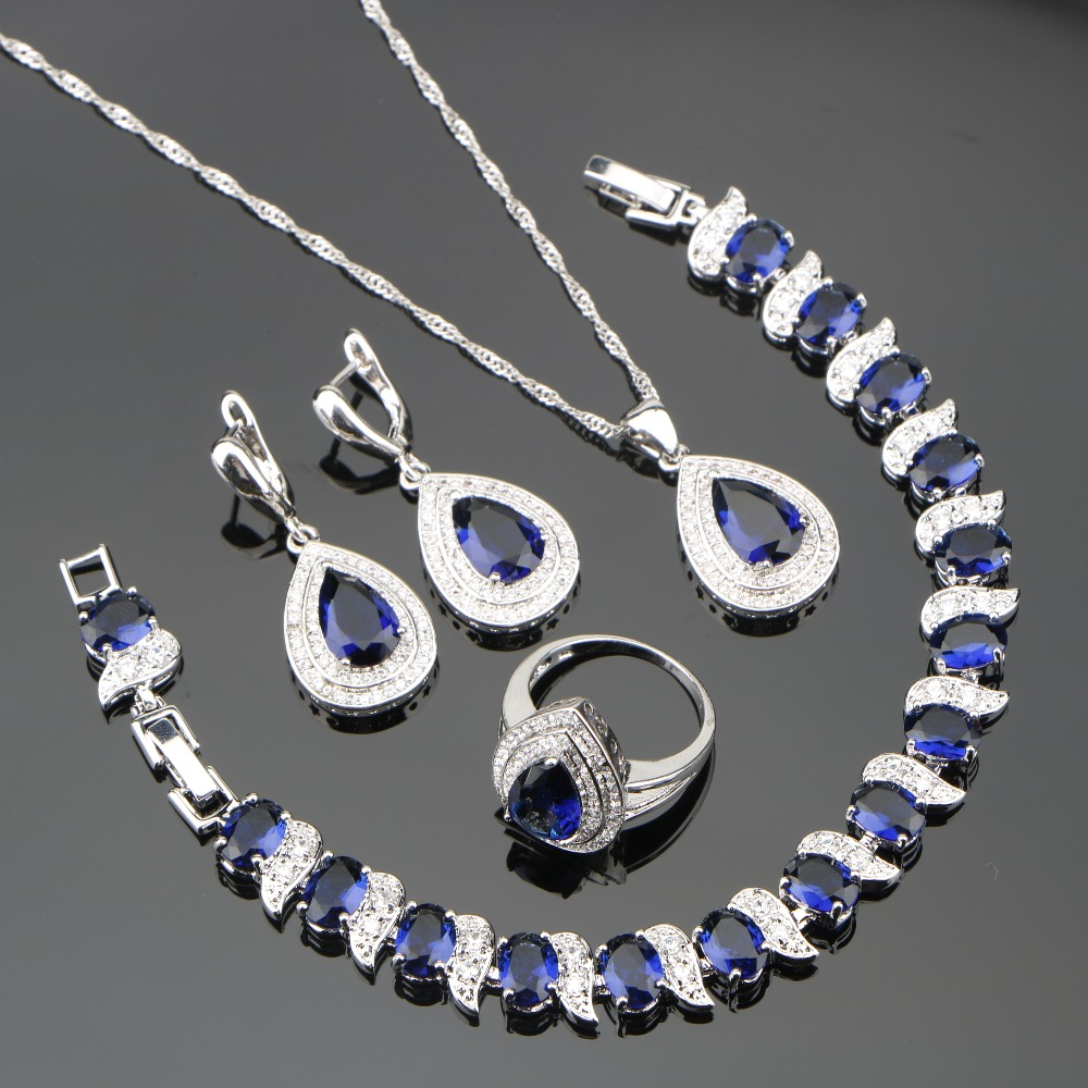 все цены на Heart Blue Zircon Silver 925 Costume Jewelry Sets Wedding Women Bracelets Necklaces Rings Earring With Stones Set Gift Box