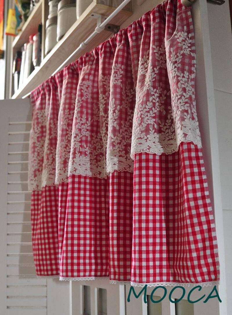 Rideau à Carreaux Vichy Rouge Blanc Avec Rideau De Cuisine Court En Dentelle