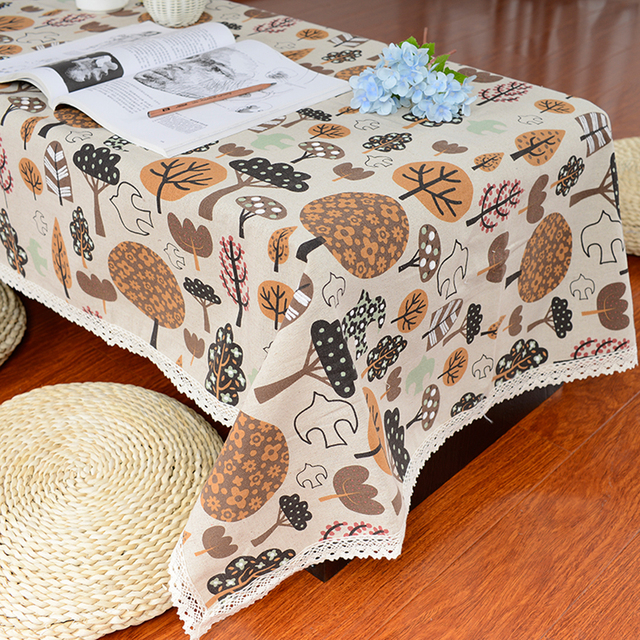 Linen Table Cloth Country Style Flower Tree Print Rectangle Table Cover  Tablecloth With Lace Edge Wedding