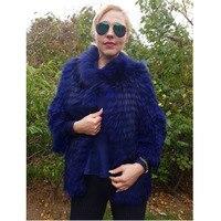 Мех Sarcar Мода 2018 Новая Роскошная Шуба из натурального Лисьего меха женская зимняя меховая куртка с меховым воротником синего цвета