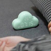 1 шт. звук Управление светящиеся Desktop Будильники облако Форма светодиодный цифровой будильник Интеллектуальный время Температура Дата часы